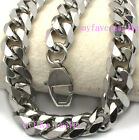 Mens Boys 11mm Stainless Steel Shiny 6 Faceted Miami Cuban Curb Chain Necklace