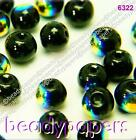150 Smooth Round Glass Beads Sparkling Black AB 6 mm Jewellery Making 6322