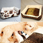 Luxurious Leopard Print Cow Pet Dog Cat Soft Bed House Kennel Warm Fleece S M L