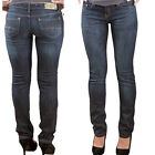 WOMENS LADIES Straight FIT PLAIN JEANS DENIM BLUE SIZE SLIM MID RISE Skinny