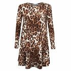 New Ladies Womens Celeb Leopard Printed Smock Swing Dress Style Long Top 8-24