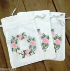Small Cotton Drawstring Bags Rose Garland Embroidery Gift Bag Herb Pouch (#21