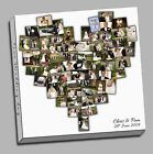 STUNNING PERSONALISED HEART SHAPED EXTRA LARGE PHOTO COLLAGE CUSTOM CANVAS PRINT