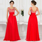 PLUS SIZE NEW Beaded Long Chiffon Evening Formal Party Wedding Gown Prom Dresses