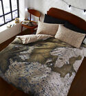 Map European Atlas Print Brown Beige Reversible Duvet Quilt Cover Bedding Set