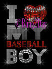 I Love My Baseball Boy - Rhinestone Iron on Transfer Hot Fix Bling Sports Mom
