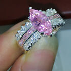 sz5-10 Jewellery High Quality 925 silver filled pink sapphire wedding Ring gift
