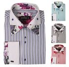 Men's Fashion Casual French Cuff Dress Shirt with Double Collar