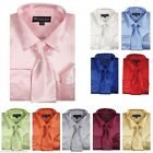 Men's Shiny Satin Dress Shirt with Matching Tie and handkerchief size15.5 - 20.5