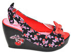 TooFast Pin Up CHERRY Rootin Tootin WEDGES Schleifen Kirschen Rockabilly
