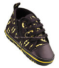 Baby Boy Black Batman Soft Sole Crib Shoes Sneakers Size Newborn to 18 Months