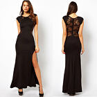 Womens Lace See-through Back Slim Bodycon Split Side Maxi Long Party Dress