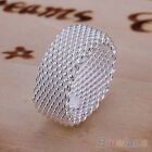 Women's Wide Net Woven Mesh Finger Ring Silver Plated Jewelry Charms Stylish