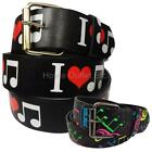 Music Theme Printed Leather Belt Novelty Musical 8th Notes Symbols Clef Musician