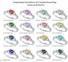 Heart Cut Promise Infinity Celtic Birthstone Sterling Silver Ring Size 4 - 12