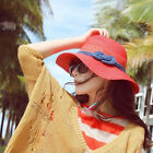 Womens Sun Hats Summer Beach Cap Hat Straw Hat Wide Large Brim Solid 2 Colors