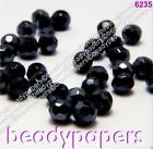 60 75 100 150 Faceted Round Glass Beads 4 mm Black Pearl Lustre Jewellery 6235