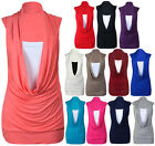 New Ladies Sleeveless Insert Tops Womens Cowl Neck Long Vest Top Plus Size 16-26