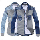 Men's Casual Plaid Korean Style Stitching Cotton Long-Sleeved Denim Shirts, T29