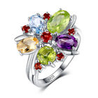 3.2ct BIG Genuine Amethyst Garnet Peridot Topaz Ring 925 Sterling Silver 6 7 8 9