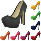 FAUX Suede HIGH HEEL CONCEALED PLATFORM POINTED CLASSIC  SHOES PUMP SIZE 2-9