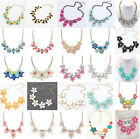 Fashion Flower Charm Jewelry Chain   Crystal Choker Chunky Bib Statement Necklace