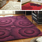 Textures Flair Rugs 100% Wool Rug Purple Natural Red Floral Textured 3D Pile