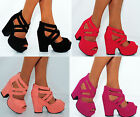 LADIES WOMENS STRAPPY WEDGED PLATFORMS WEDGES ANKLE CUFF HIGH HEELS SHOES SIZES