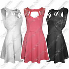 NEW LADIES WOMENS LACE TOP OPEN BACK SKATER DRESS FLARE SKIRT PARTY VEST DRESSES