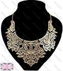 BIG FILIGREE COLLAR statement NECKLACE bib GOLD/BLACK choker VINTAGE LACE DESIGN