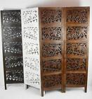 4 Panel Carved Heavy Duty Indian Wooden Elephant Screen Room Divider 180x203cm