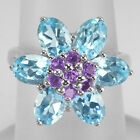 Natural Amethyst, Topaz 925 Sterling Silver Cluster Ring Size #7 (r374)