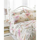 Floral French Print Vintage Duvet Cover - Pink & Natural Cream Bedding Bed Set