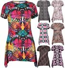 Womens New Printed Ladies Short Sleeve Uneven Hanky Hem T-Shirt Top Plus Size