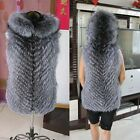 Real Silver Fox Fur Vest Hoody Women Jacket Outerwear Warm Fur Coat V0059