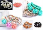 4Pcs In1 Set Resin Rose Flower & Bead & Clear Crystal Chain Set Bracelet Jewelry