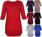 T-Shirt / Tunique Manches Extensible 3/4 Ourlet Haut Grande Taille Femme Neuf