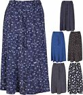 Womens New Printed Pattern Ladies Gathered Flared Tie Waist Belt Skirt Plus Size