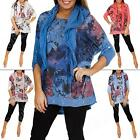 New Ladies Womens Floral Print Italian Lagenlook Tunic Top Size 12 14 16 18 L XL