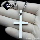 "18-30""Stainless Steel 3mm Silver Cuban Curb Chain Necklace Plain Cross Pendant*P"