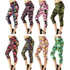 Colorful Floral Print Skinny Stretch High Waist Capris Leggings Ti One size