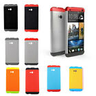 Tri-color Double Dip Hard Plastic Case Cover For HTC ONE M7 OEM Free Fast USship