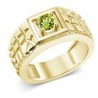 0.60 Ct Round Green VS Peridot 925 Yellow Gold Plated Silver Men's Ring