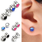 Punk Steel Magnetic Crystal Fake 6g Ear Stud Nose Lip Ring Mens Clip No Piercing