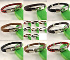 2014US Men Leather Wrap Red+Black/Brown/Camel/Black Cuff Punk Wristband Bracelet