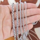 Solid Sterling Silver Spiga Wheat Unisex Chain Necklace - 1.7,2.5,3,4,5 mm thick