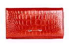 100% FINE LEATHER PUCCINI CROCO WALLET PURSE TRAY BROWN RED LADIES WOMEN N1705