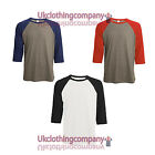 Bella Canvas Men's 3/4 Sleeve Top - Triblend Baseball T-Shirt - sizes s to xxl