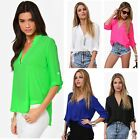 Sexy Women's Lady Loose Chiffon Sexy V-Neck Tops Long Sleeve Shirt Casual Blouse