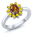 1.20 Ct Oval Orange Red Madeira Citrine Yellow Sapphire 925 Sterling Silver Ring